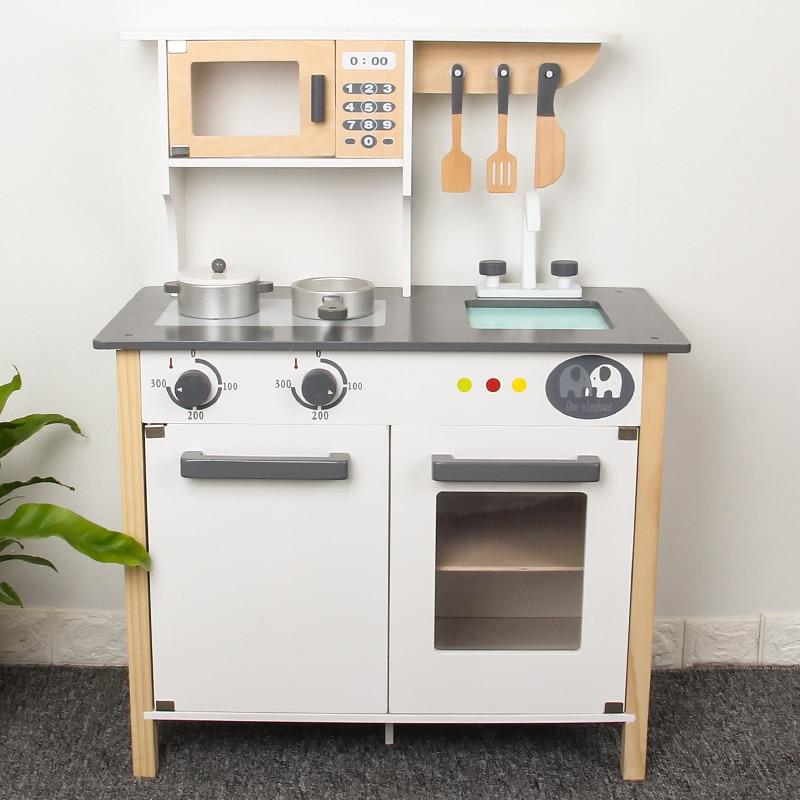 Brinquedos de cozinha de madeira grande tamanho fingir jogar cozinhar brinquedos vida real conjuntos de utensílios de mesa cosplay bebê cozinha cozinhar simulação brinquedo de madeira