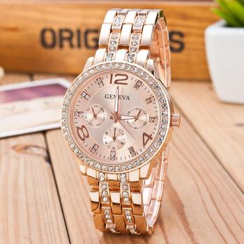 2019 New Famous Brand Gold Crystal Geneva Casual Quartz Watch Women Stainless Steel Dress Watches Relogio Feminino Men Clock Hot 1
