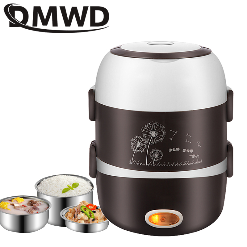 DMWD Portable Electric Heating Lunch Box Mini Rice Cooker Stainless Steel 3 Layers Food Steamer Picnic Meal Container Warmer EU