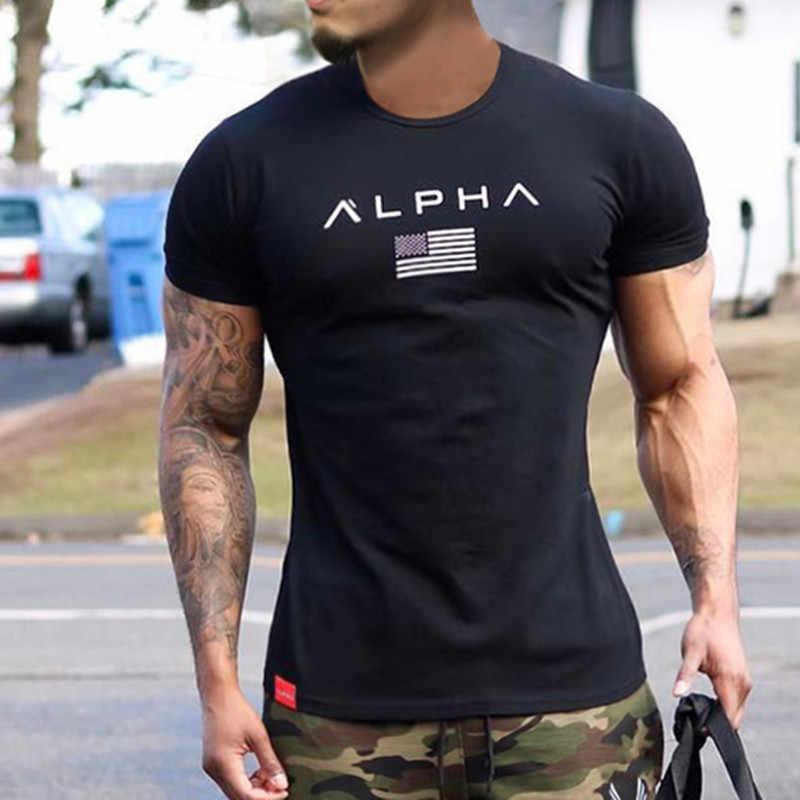Männer kurzarm Baumwolle T-shirt Beiläufige Schwarz Print t shirt Gym Fitness Bodybuilding Workout Tees Tops Männlich Sommer Marke Kleidung