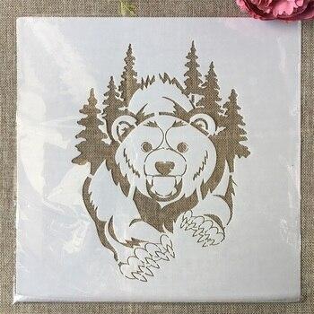 30*30cm Grizzlies Bear Coniferous Forest DIY Layering Stencils Painting Scrapbook Coloring Embossing Album Decorative Template выставка munk 2019 05 07t14 30