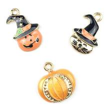 10Pcs Halloween Safe Pumpkin Cats Hat Durable Alloy Charm Pendants Necklaces Jewelry Diy Accessory Small Pendant Festival Gifts(China)
