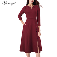 Vfemage Women Pleated Notch V Neck Pockets Buttons Work Office Business Cocktail Party Fit & Flare A Line Skater Midi Dress 2867
