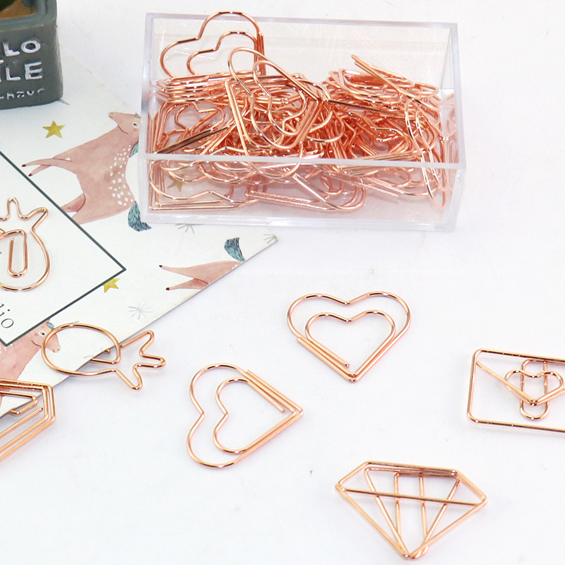 1set Metal Rose Gold Paper Clips Paperclip Document Storage Office Binder Notes A4 Bookmark Planner Tool School Office Supplies