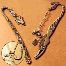 New Retro Exquisite Alloy Metal Bronze Bookmark Mermaid Beaded Angels Butterfly Bowknot Fashion Vintage Carved Bookmark(China)