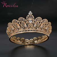 Baroque CZ Big Tiaras Crowns Round Pageant Engagement Wedding Tiara Hair Accessories For Bridal Jewelry cz Water Drop RE3502