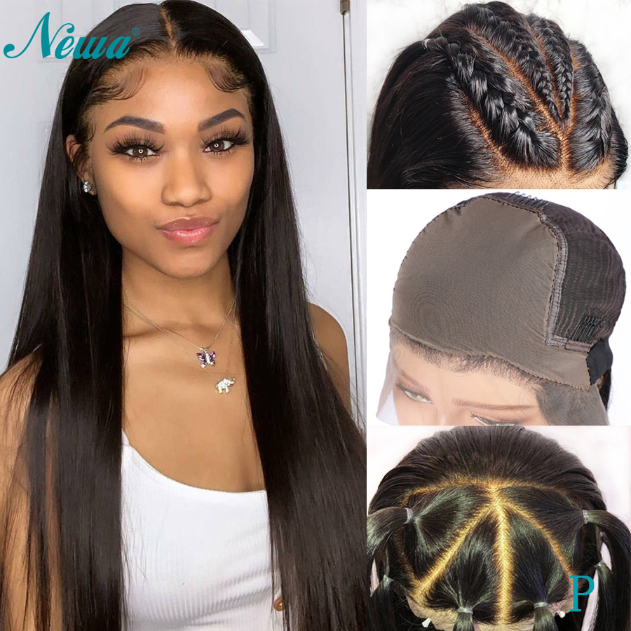 Newa Hair Straight Fake Scalp Wig 13x6 Lace Front Human Hair Wigs Pre Plucked With Baby Hair 150% Brazilian Remy Lace Front Wig