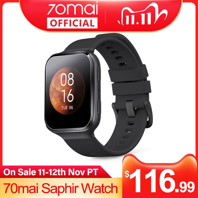 70mai Smart Watch 70mai Saphir Watch Bluetooth GPS Sport Heart Rate Monitor 5ATM Resistance Call Reminder 70mai Smartwatch APP 1