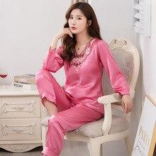 Lady Long Sleeve Pajamas Suit Satin Sexy Hollow Out Pijamas Sleepwear Lounge Big