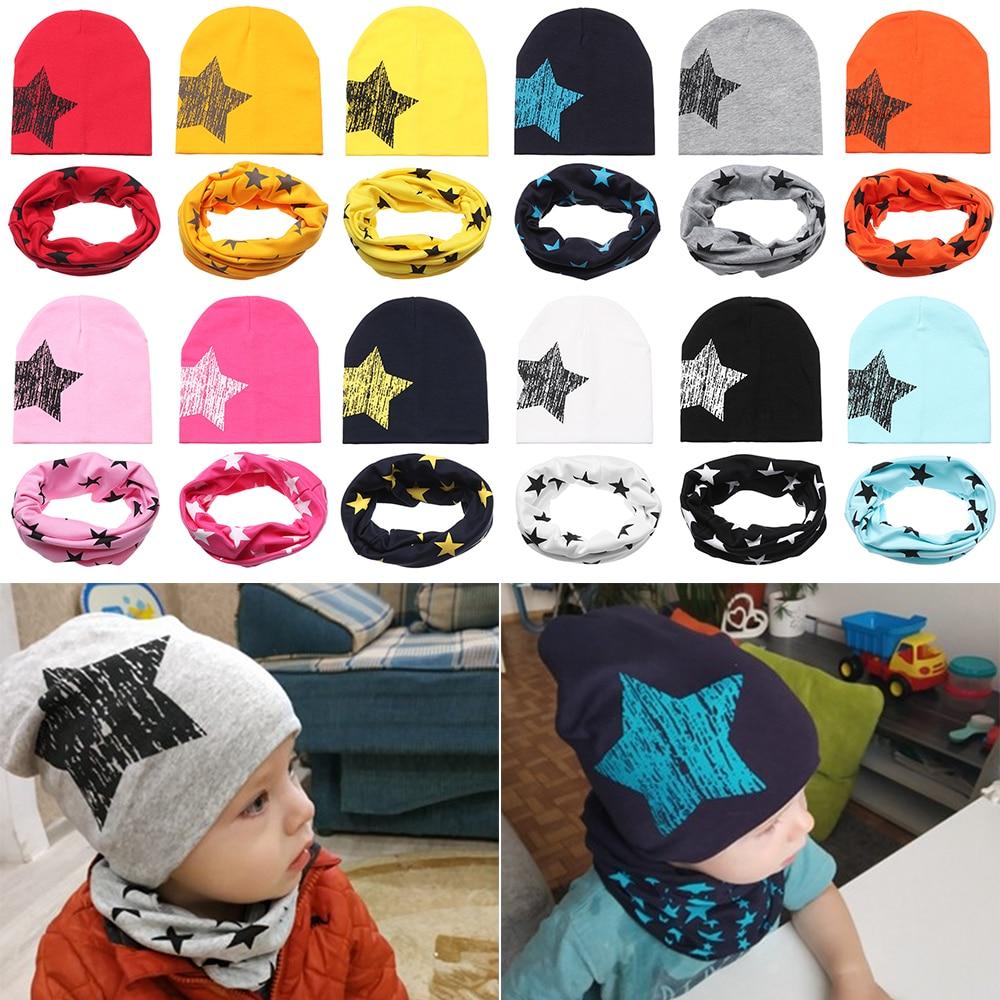 1 комплект, детская хлопковая шапка со звездой, шарф, детский нагрудник, шапка на весну и осень, 2 предмета, вязаная шапочка с принтом для маль...