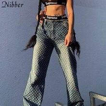Nibber-pantalones vaqueros calados a cuadros para Mujer, Jeans de estilo Hip Hop para Club, Y2K, de cintura alta, holgados, de calle, Color degradado, 2021