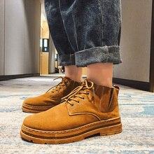 Зимние мужские ботинки из коровьей замши; Мужская обувь с мехом; мужские теплые плюшевые ботинки; повседневные ботинки; мужские ботильоны