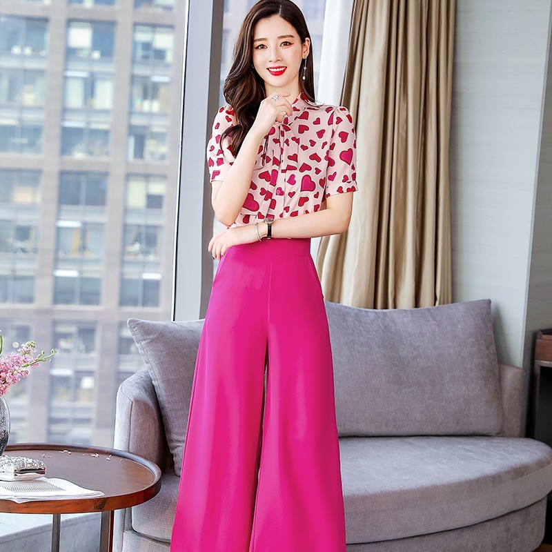 New Brand Ensemble Femme 2 Pieces Pants Love Print Short Sleeve O-Neck Lace Up Chiffon Shirts Solid Ankle Length Wide Leg Pants