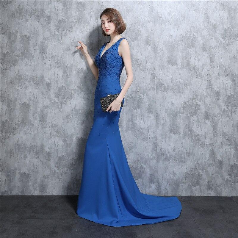 Blue Real Samples 2020 V Neck Beading Mermaid Long Bridesmaid Dresses Vestidos De Noiva Wedding Gowns