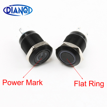 50pcs Black Push Button Switch 4 Pin 12mm Waterproof illuminated Led Light Metal Flat Momentary Switches with power mark 3V-220V