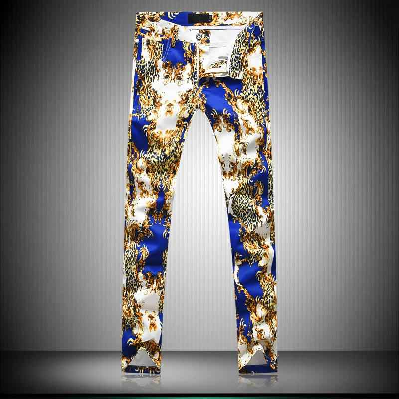 MIXCUBIC Autumn college style Unique Leopard printed pants men white casual slim printed pants men feet trousers size 29-38