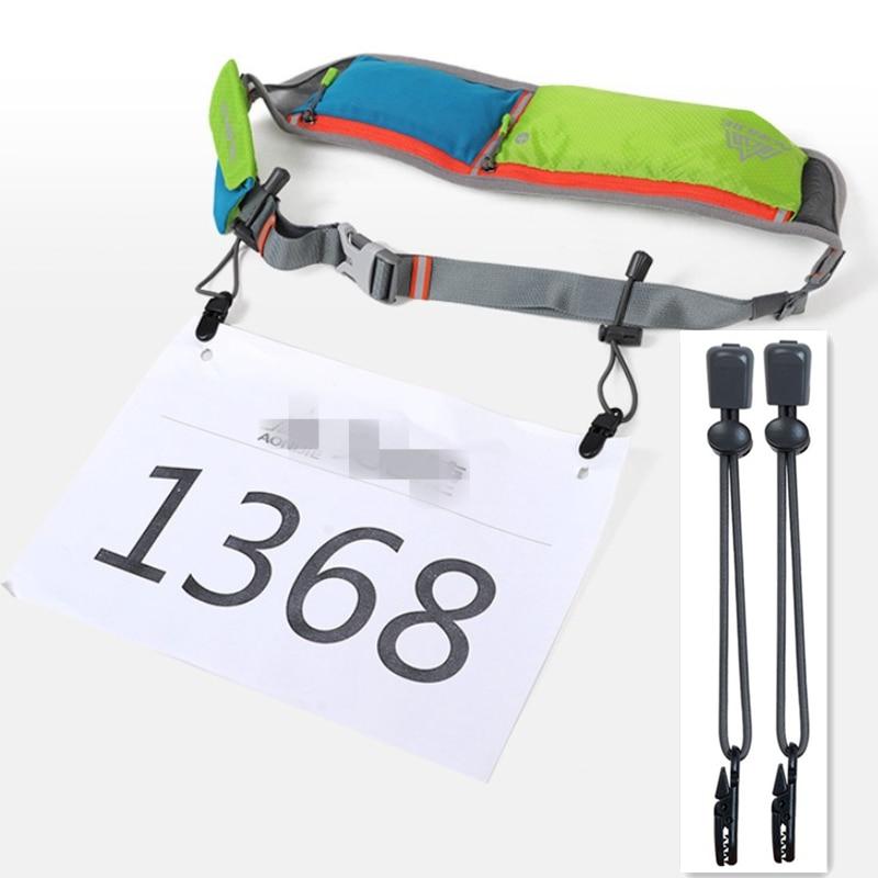 2pcs/Lot Race Bib Buckles Number Fixing Clips Loop Holder Elastic Rope Marathon Triathlon Running Waist Belt Sports Accessories