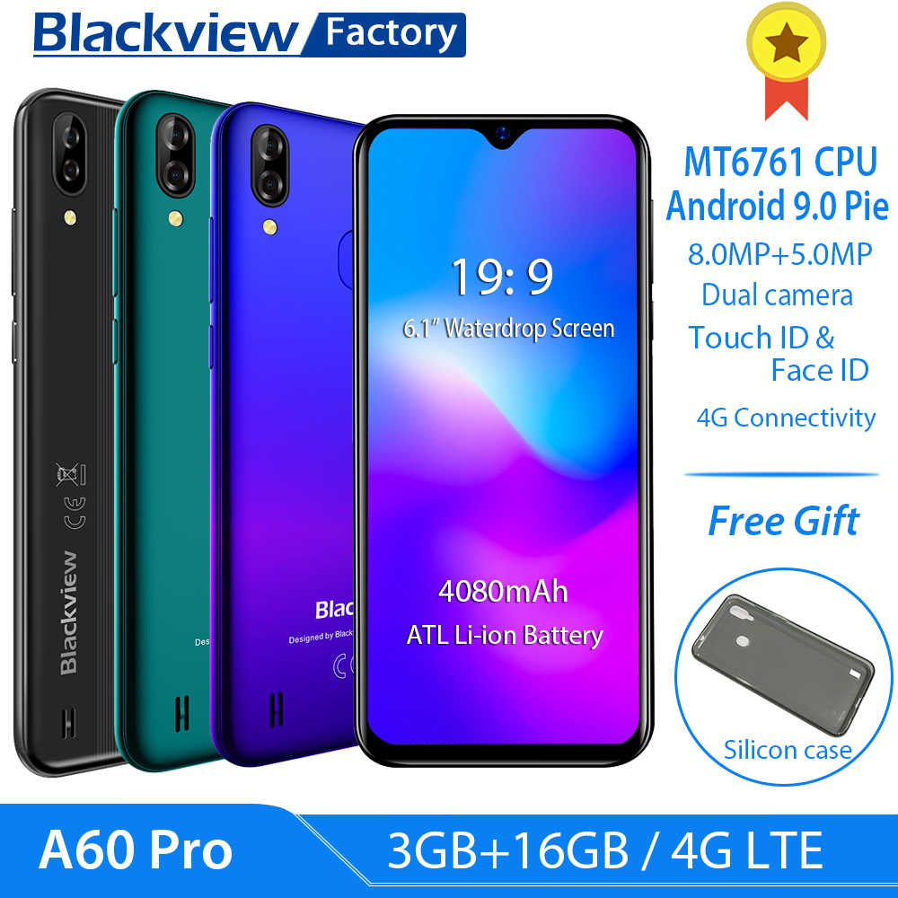 "Blackview A60 Pro 4G LTE 4080mAh Smartphone 6.088 ""Waterdrop Screen mobiele telefoon Android 9.0 3GB RAM dual Achteruitrijcamera mobiele telefoon"