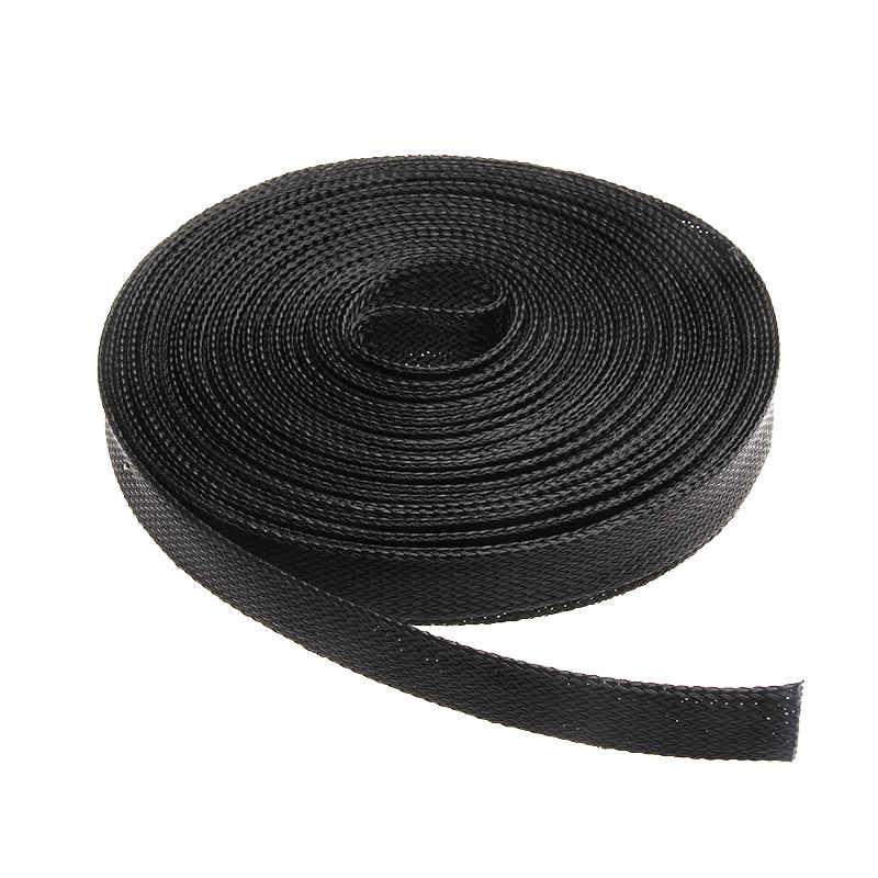Tel bezi 10M siyah yalıtımlı örgü kılıf 2/4/6/8/10/12/15/20/25mm sıkı PET tel kablo koruması genişletilebilir kablo kılıfı