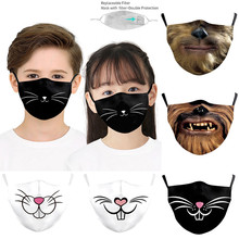 Face-Mask Protection Halloween Cosplay Washable Cotton Child Fun for Caretas