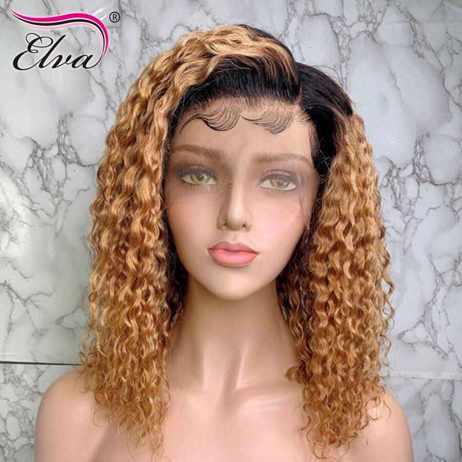 Elva cheveux 13x6 1B/27 court dentelle avant perruques de cheveux humains bouclés dentelle avant perruque Ombre Bob perruques pour les femmes noires pré plumées Remy cheveux