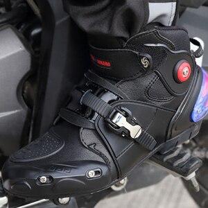 Image 5 - חדש אופנוע קצר אתחול מיקרופייבר עור Probiker מירוץ קרסול רכיבה נעלי מוטוקרוס סירות החלקה נעלי אופנוע מגפיים