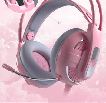 Yulass Gaming Headphones Wired Girl Pink Stereo Large Headphone Noise Canceling Headphone With microphone 4