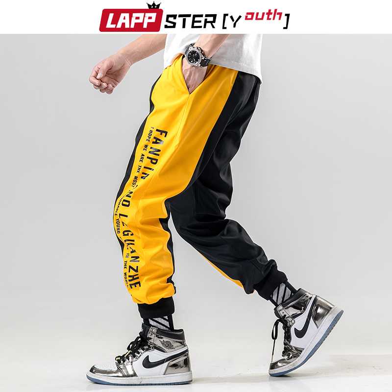 LAPPSTER Men Side Striped Joggers 2019 Mens Japanese Streetwear Patchwork Sweatpants Male Hip Hop Track Pants Yellow Trousers