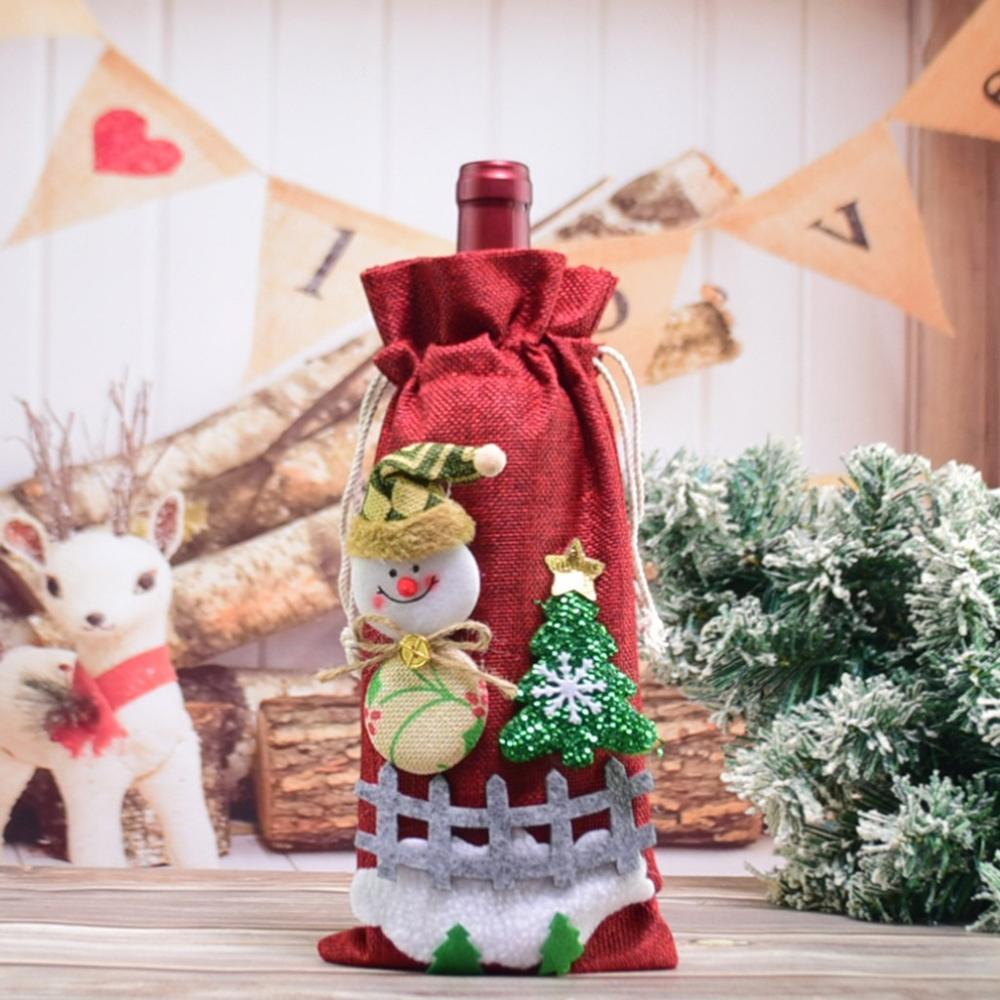 Wine Bottle Cover Santa Elk Xmas Table Decor Christmas Holiday Party C2W5 Z8E9