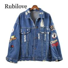 Rubilove Women Short Cropped Denim Blue Oversize Punk Jacket Button Rock And Roll Turn Down Collar Letter Embroidery Hole