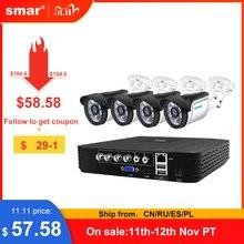 Smar 4CH CCTV HDMI DVR 4PCS 720P 1080P AHD Kit telecamera sistema di sicurezza domestica resistente alle intemperie Kit di videosorveglianza obiettivo HD