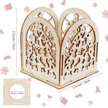 OHEART 6pcs Wooden Christmas Candle Stand Candlestick christmas tree DIY Light Holder Lovers Party Dinner Decor 9x8cm