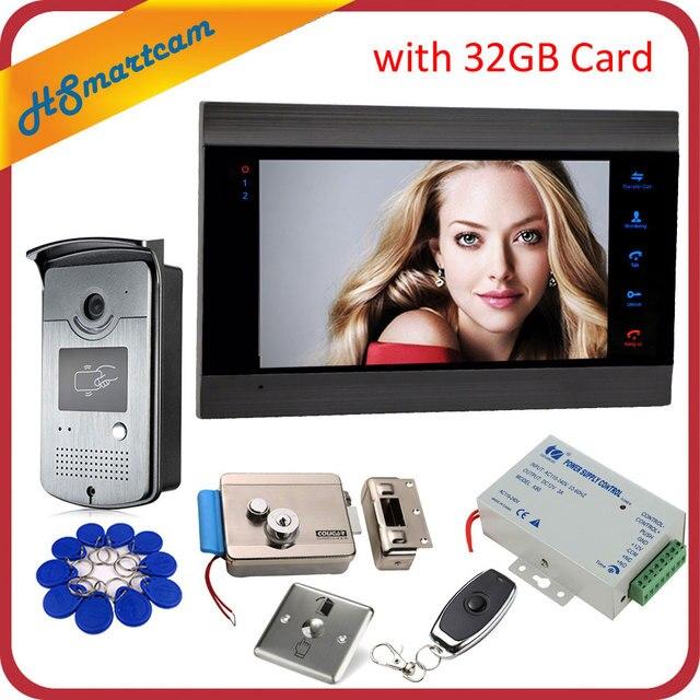 New 7 inch Video Doorbell Monitor Intercom With RFID Key Outdoor Camera Door Phone Intercom System Remote control Door Lock