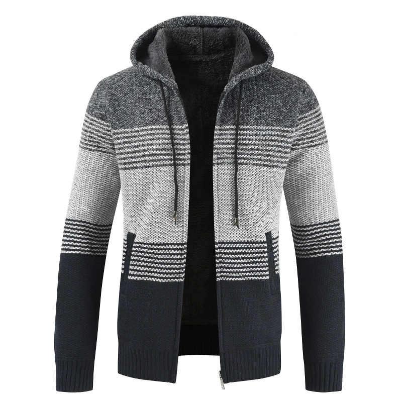セーターのコートの男性 2019 冬厚い付きカーディガンジャンパー男性縞模様のカシミヤウールライナージッパーフリース男性 Sweatercoat