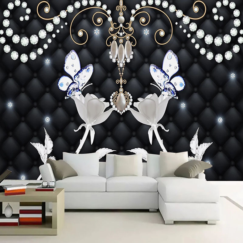 Custom Mural Wallpaper 3D Stereo White Roses Flowers Soft Roll Jewelry Photo Wall Painting Living Room Bedroom Background Fresco