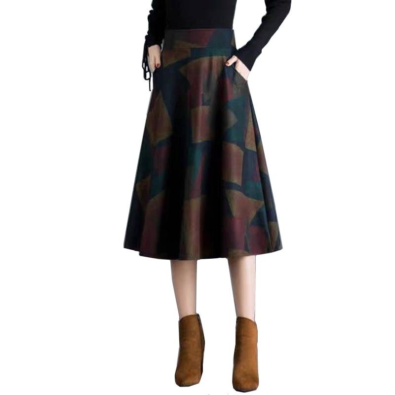 Ladies Brand Autumn Winter Women Skirt Female High Waist Midi Elegant Plaid Skirt Empire A-line Long  Pleated Skirts Women Saias