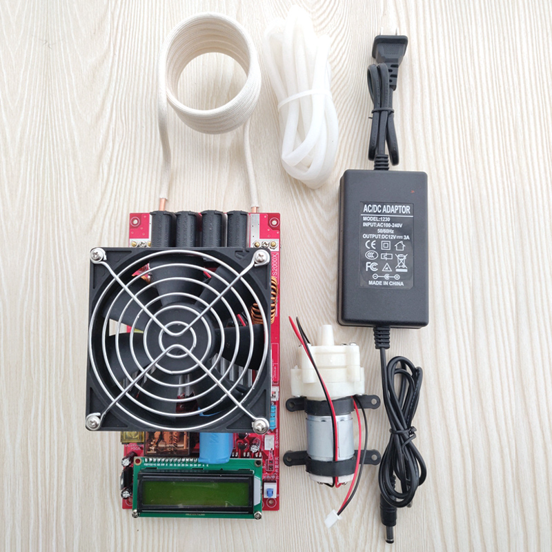 2000W ZVS High Frequency Induction Heater Module Flyback Driver Heater Good Heat Dissipation + Coil +pump +power Adapter