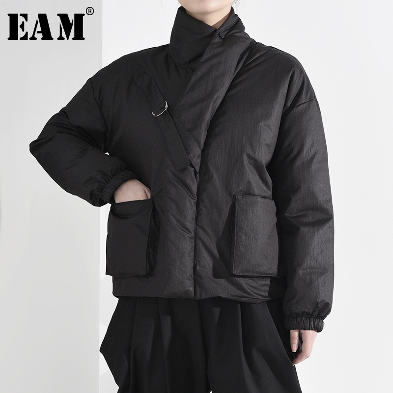 [EAM]  Black Pocket Big Size Short Cotton-padded Coat Long Sleeve Loose Fit Women Parkas Fashion New Spring Autumn 2020 A819
