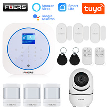 FUERS Wireless GSM Home Security Alarm System Kit Tuya Smart Life APP Control Burglar Smart Alarm Motion Detector Smoke Sensor