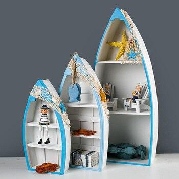 Mediterranean Wood Ship Storage Rack Household Furniture Home Decoration Shelf Flower Pot Holders Sundries Shelf Decor Craft