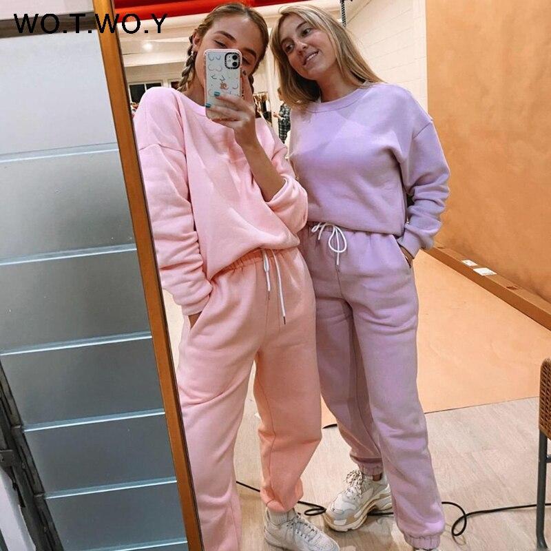WOTWOY Fleece 2 Stück Set Frauen Hosen und Top 2020 Ensemble Gestapelt Jogginghose Trainingsanzug Frauen Crop Tops Frauen Sportwear Jogger
