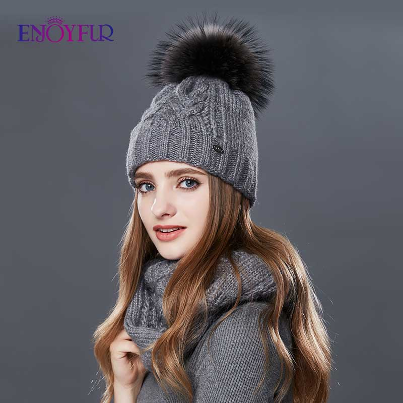 ENJOYFUR Women Winter Hat And Scarf Set Warm Cashmere Knitted Hat Scarf For Girls High Quality Fur Pompoms Hats Lady Beanies