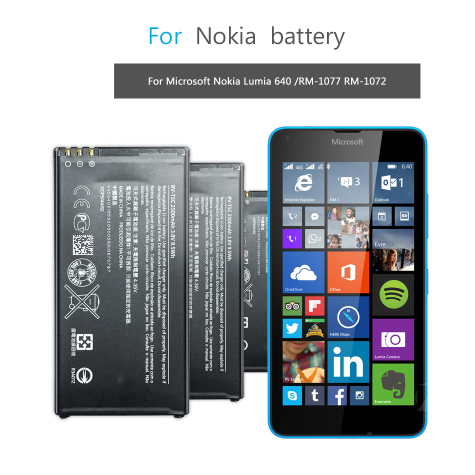 Mobile Phone Battery For Microsoft Nokia Lumia 640 RM-1109 RM-1113 RM-1072 RM-1073 RM-1077 RM Battery BV T5C BV-T5C 2500mAh