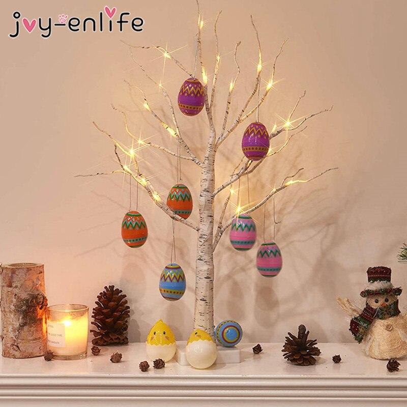 60 см пасхальное березы светодиодный светильник пасхальные украшения для дома фотографический фон с пасхальными яйцами висячие украшения и...