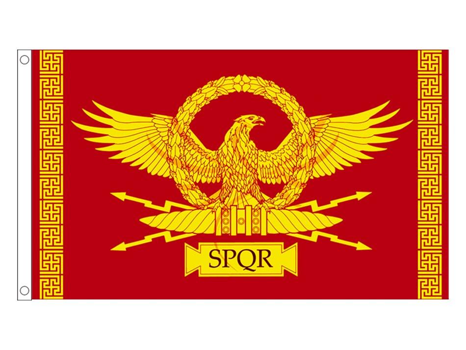 Akachafactory Fanion Mini Drapeau Pays Voiture Decoration SPQR Romain Rome Empire Gladiateur