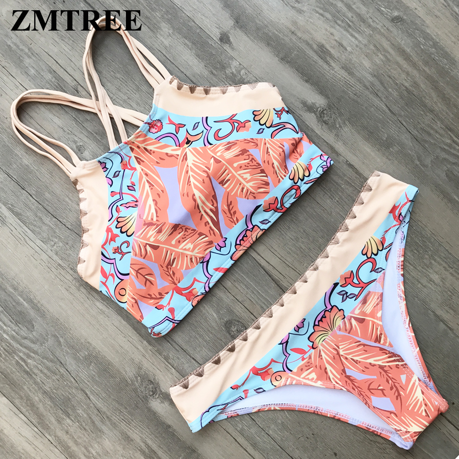 ZMTREE 2017 Retro Women Bandage Swimwear High Neck Bikini Set Women Halter Top Swimsuit Bikinis Beachwear Bathing Suit Brazilian