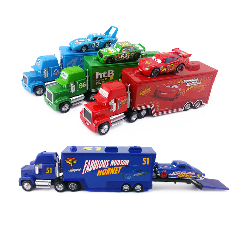 4Pcs Pixar Cars Lightning McQueen The King Dinoco Aircraft Mack Uncle