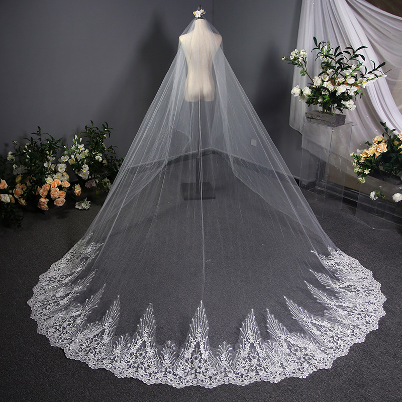 3M One Layer Lace Edge Red White Ivory Cathedral Wedding Veil Long Bridal Veil Veu de Noiva,WHITE,150cm