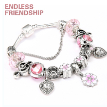 Queen Jewelry Plated Silver Charms Bracelet & Bangles With Magnolia Flower Beads fit Brand for Women Gifts