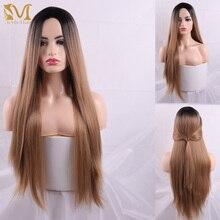 Длинные черные и коричневые парики MERISI с челкой, термостойкие синтетические прямые парики для женщин, искусственные волосы в Африканском и американском стиле